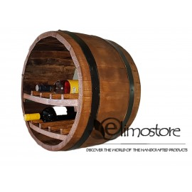 Cask barrel wine cellar wine rack 10 bottles wall