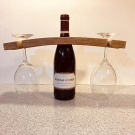 Re-Purposed Wine Barrel Stave wine glass holder(Natural)
