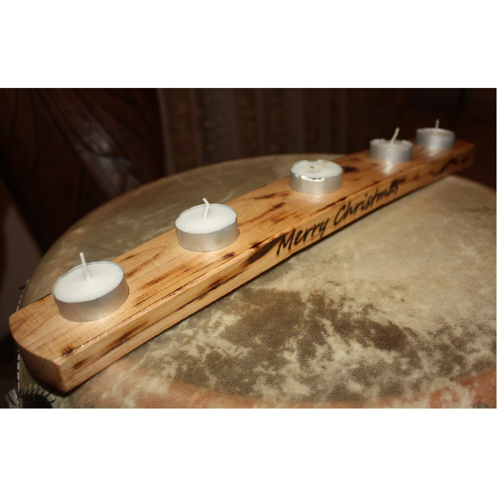 Oak Scotch Whisky Barrel stave 5 tea light holder