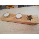 Oak Scotch Whisky Barrel stave twin tealight holder